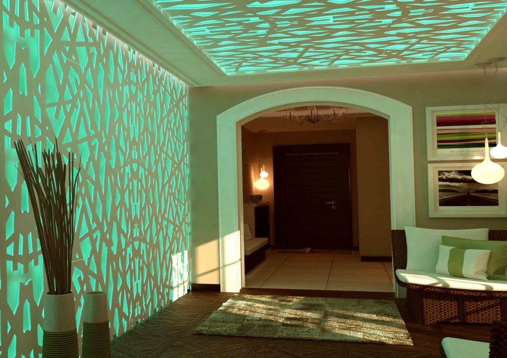 фото расположения точечных светильников на потолке